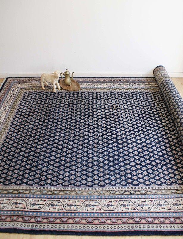 Groot blauw handgeknoopt Perzisch tapijt. Vintage wollen kleed/Mir | Kleden en dekens | Flat Sheep