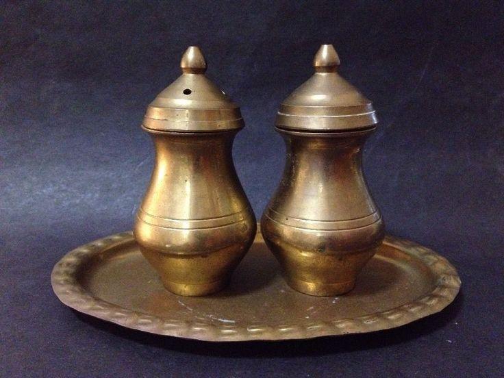 Estate Find - Vintage Brass Salt & Pepper Shakers with Plate - Tarnished