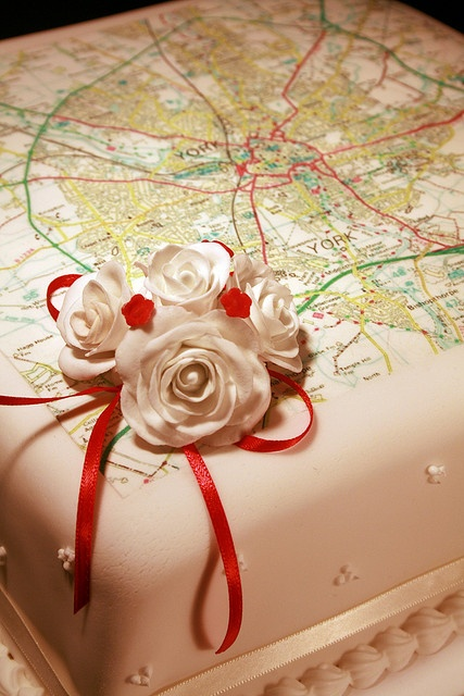 map cake. Sweet idea for a once long distance love. :)