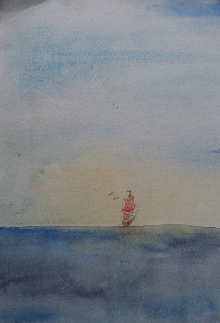 aquarell zeichnung schiff blau meer  aquarell