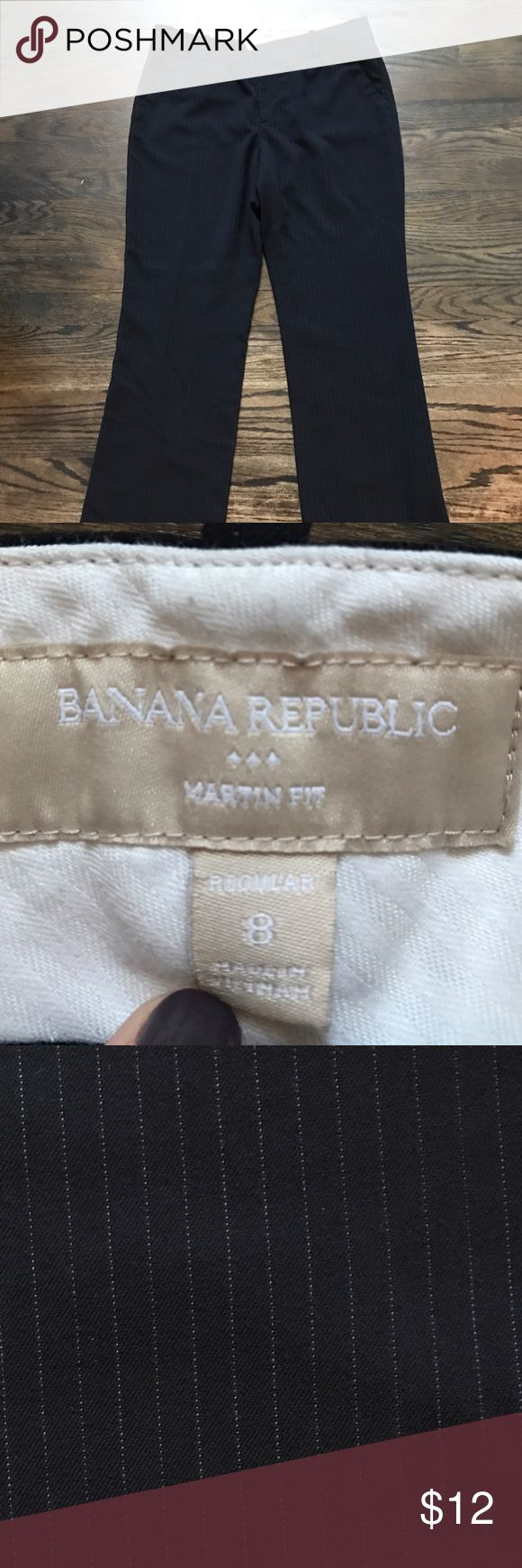 """Banana Republic Martin Fit pants in navy pinstripe Classic navy pinstripe trouser pants from Banana Republic - Martin fit. Size 8, 33"""" inseam. Banana Republic Pants Trousers"""