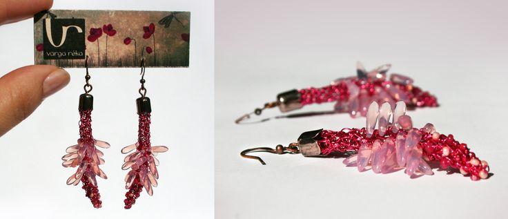 Long flower-shaped earrings with rosy petals www.vargareka.com/
