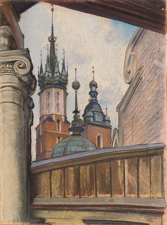 Stanisław Wyspiański, Wieże Kościoła Mariackiego w Krakowie, 1905 r.