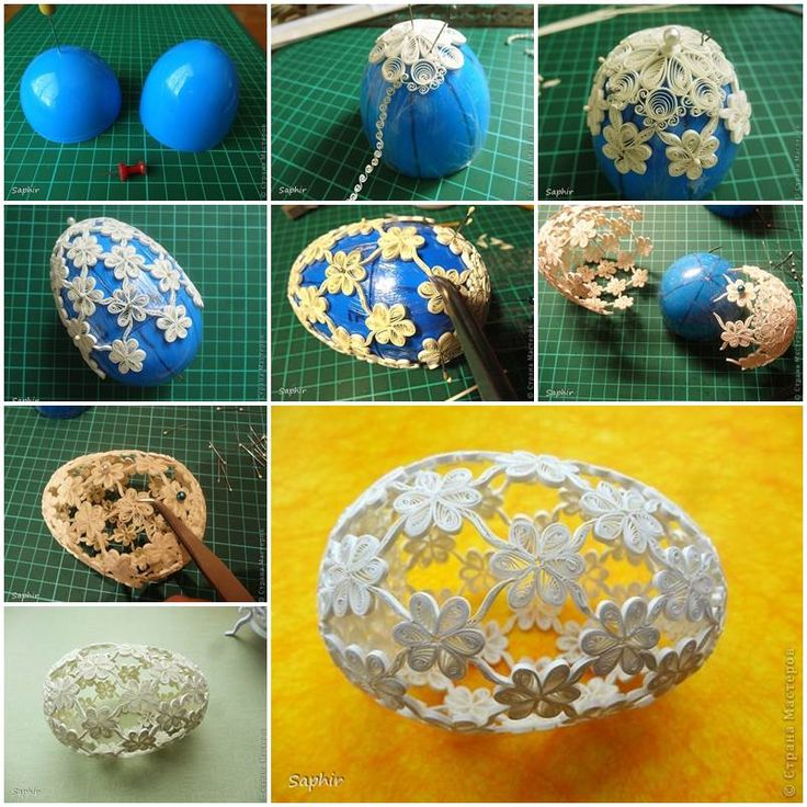 DIY Quilling Flowers Easter Egg