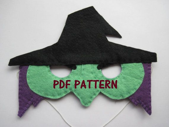 PDF PATTERN: Witch mask sewing tutorial - Black Green Purple felt DIY childrens costume - boys girls Dress Up play Halloween accessory