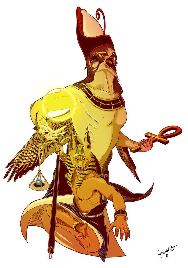 Horus and Anubis COLORS. by Kamui85.deviantart.com on @DeviantArt