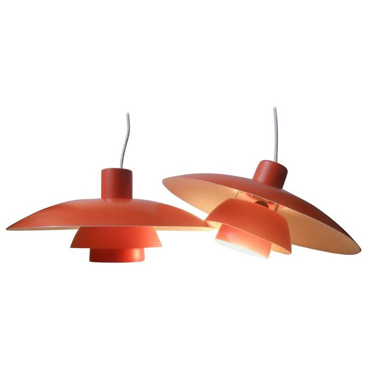 Pair of Vintage PH-4/3 Orange Pendant Lamps by Poul Henningsen Louis Poulsen | From a unique collection of antique and modern chandeliers and pendants at https://www.1stdibs.com/furniture/lighting/chandeliers-pendant-lights/