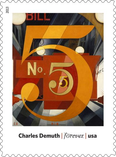 "March 2013 Stamp Release: Modern Art in America. ""I Saw the Figure 5 in Gold"" by Charles Demuth. (Things like this make me jealous about USPS. In the UK we get footballers... )"