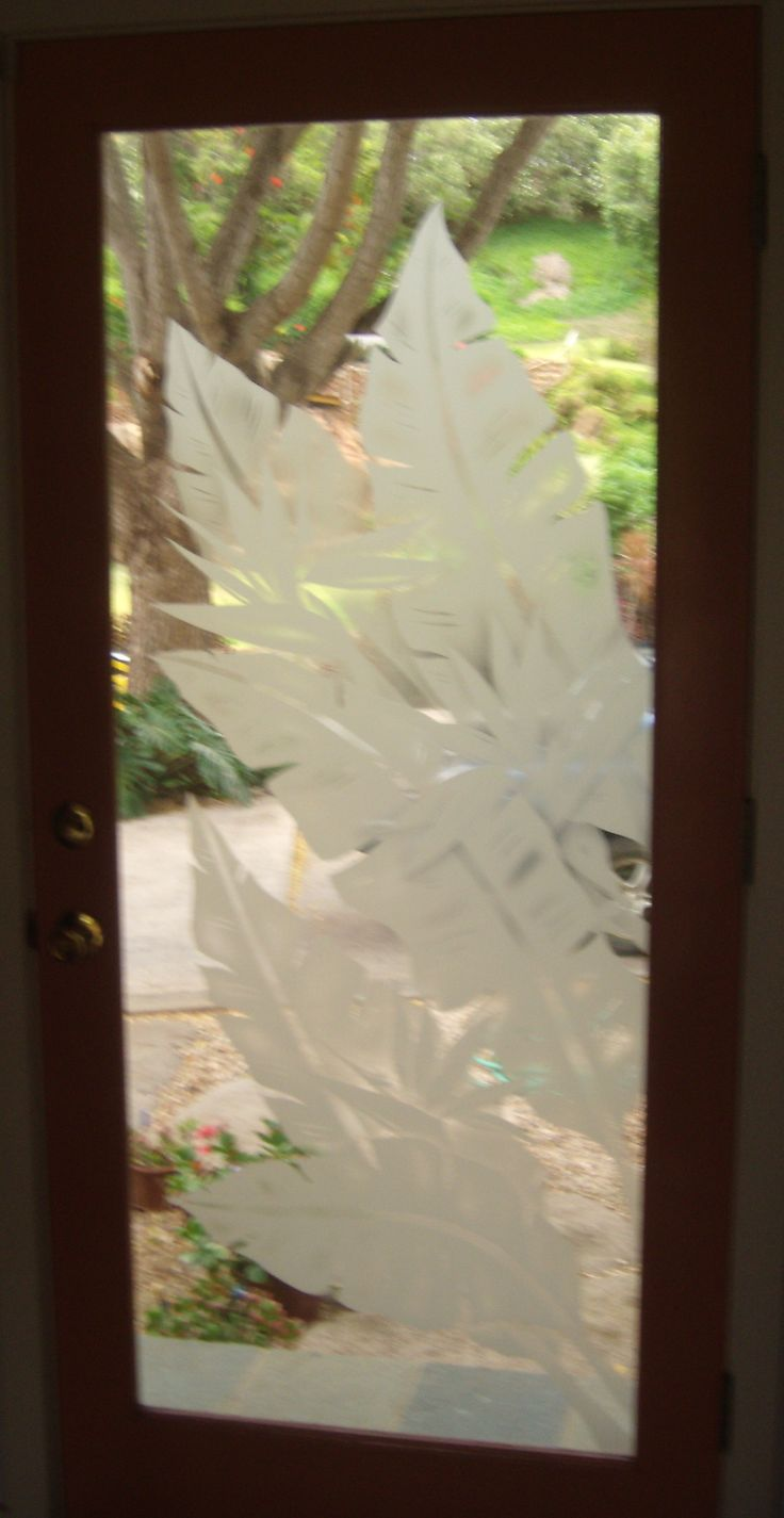 Etched glass doors privacy glass door inserts bamboo pictures to pin - Banana Leaves With Bird Of Paradise Etched Glass Door Panel