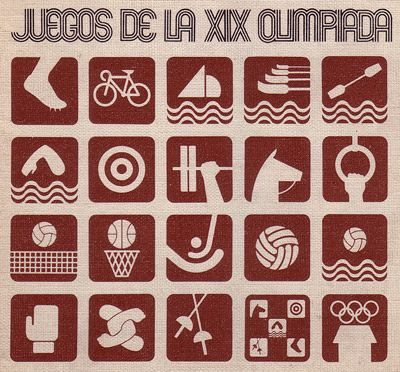 "Mexico City, 1968 Olympics, event logos. (I collected these ""badges"" - they came in snack foods, candies, etc)"