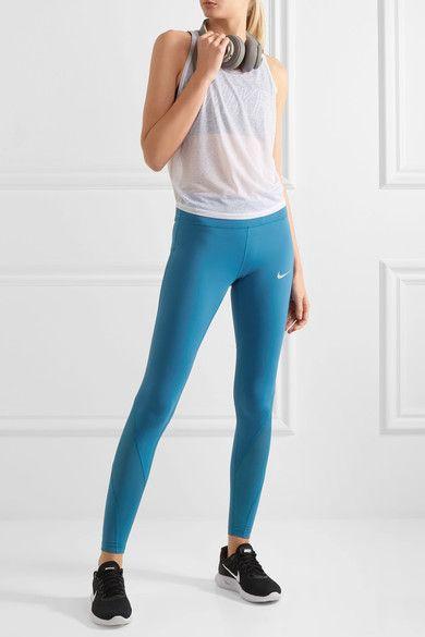 Storm-blue stretch-nylon Pull on Fabric1: 78% nylon, 22% elastane; fabric2: 74% polyester, 12% elastane; fabric3: 100% polyester Machine wash