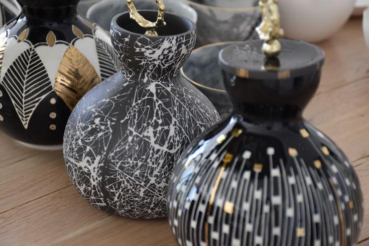 Calabash Porcelain Carafe with Brass Lid