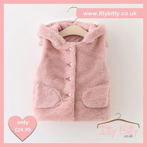 Itty Bitty Autumn Pink Cute Cat Gilet https://www.ittybitty.co.uk/product/itty-bitty-autumn-pink-cute-cat-gilet/ #outerwear #tops