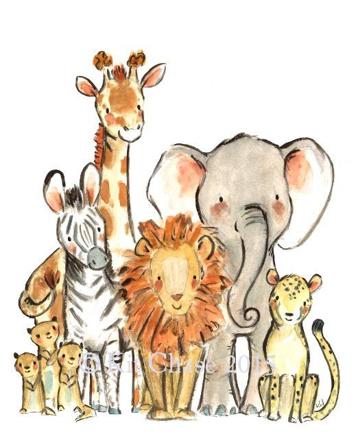 If you're looking to go on a jungle safari, these little guys could show you around. - art print from an original watercolor, gouache, and acrylic painting by Kit Chase. - archival matte paper and ink