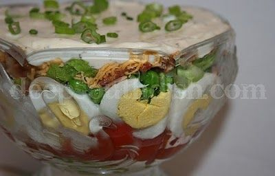 Old Fashioned Seven Layer Salad; lots of good information, scroll down for a recipe for two.: Layer Salad, Seven Layered Salad, Fun Recipe, Southern Recipe, Company Picnics, Church Potluck, Summer Picnics, Peas Salad, Deep South Dishes