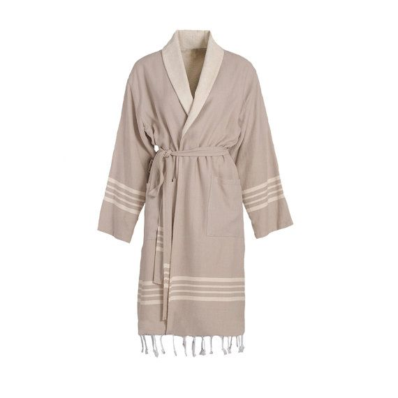 TOPRAK Turkish Towel Bathrobe is high-quality, 100% natural Turkish cotton with Raw Terry Layer inside and wit fringe.