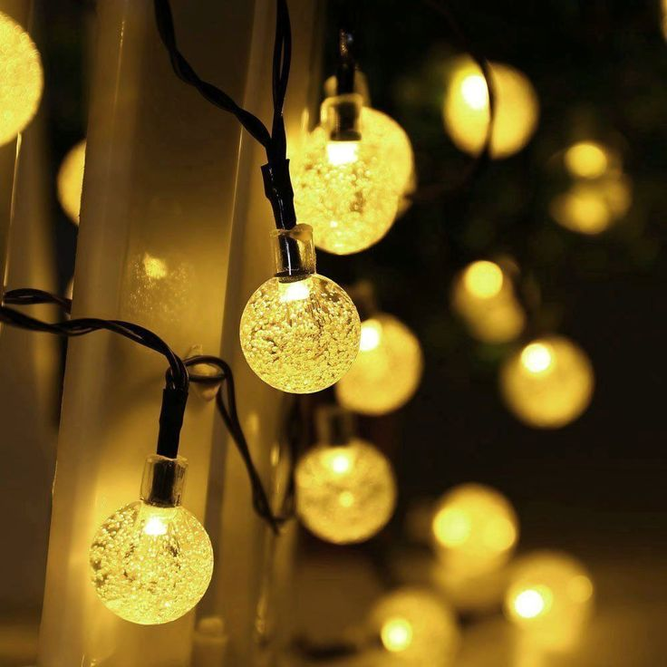 Solar Powered String Lights, 50LED Crystal Ball Waterproof Garden Warm Light…