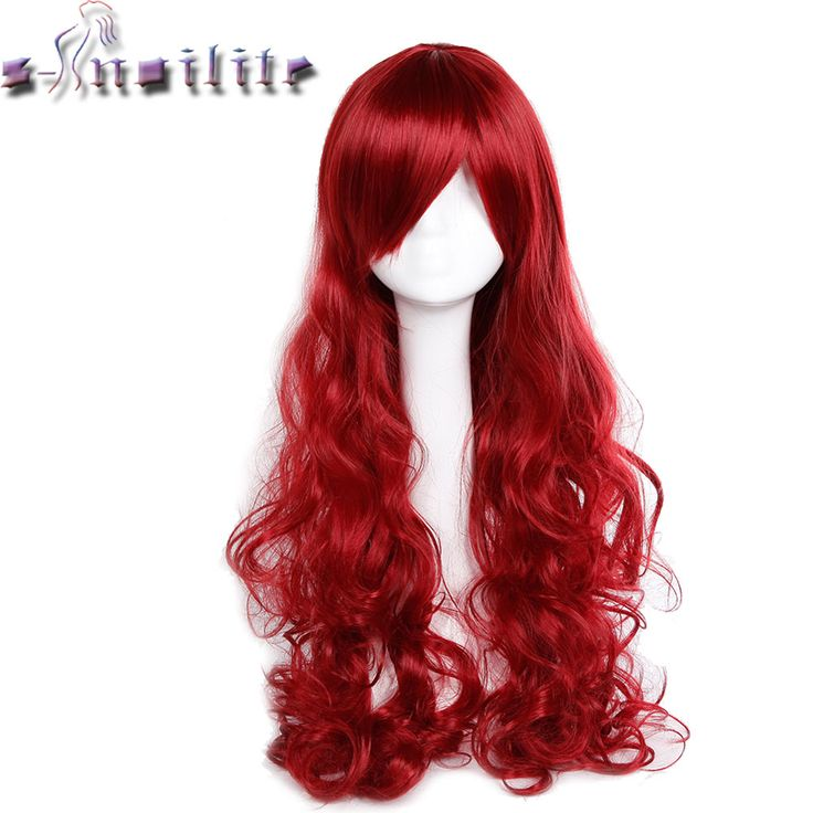 S-noilite Long 80 cm wig heat resistant women Black Blonde Purple Red synthetic wigs curly Wavy Cosplay party #Affiliate