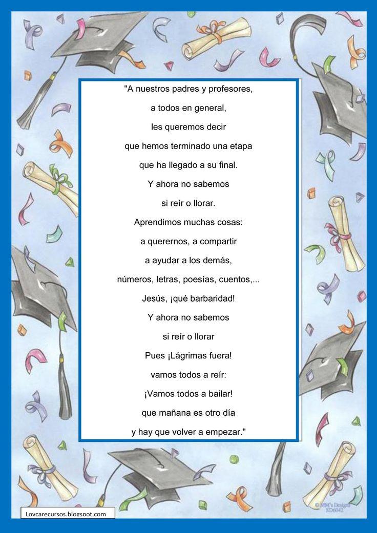 RECURSOS DE EDUCACION INFANTIL: POESÍAS DE GRADUACIÓN 2