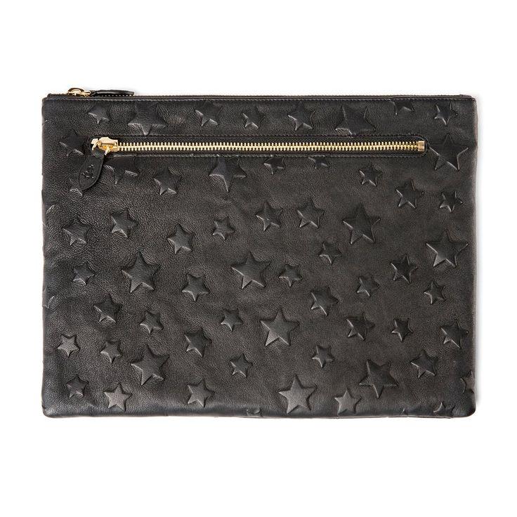 Quinn Large Black Star Leather Laptop Pouch Case