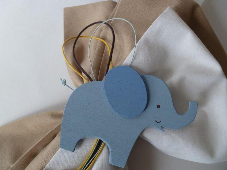 ζωάκια της ζούγκλας - craft room Λαμπάδα βάπτισης με ξύλινο ελεφαντάκι για αγόρι