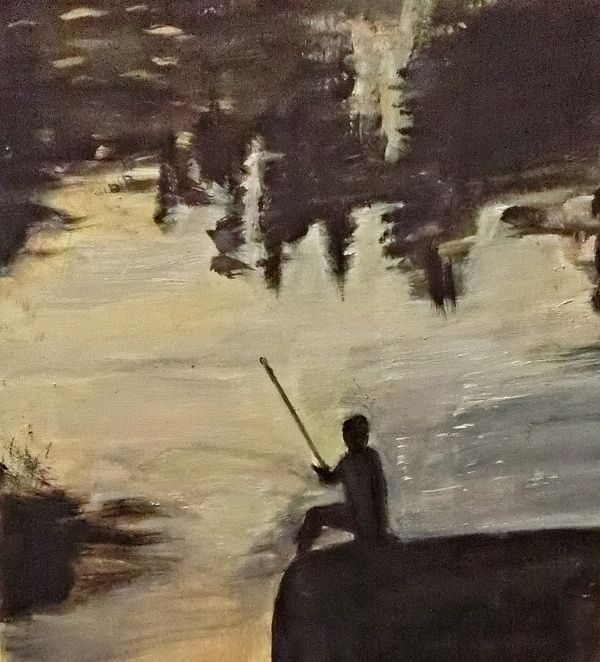 """Entitled The One That Got Away, the quotation is from John Buchan.  It is """"The charm of fishing is that it is the pursuit of what is elusive but attainable, a perpetual series of occasions for hope.""""  The painting is by Michela"""