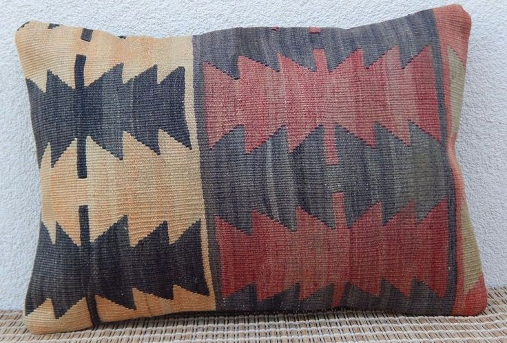 14x20'' Vintage Turkish Handmade Faded Color Kilim Throw Lumbar Pillow Covers #Handmade