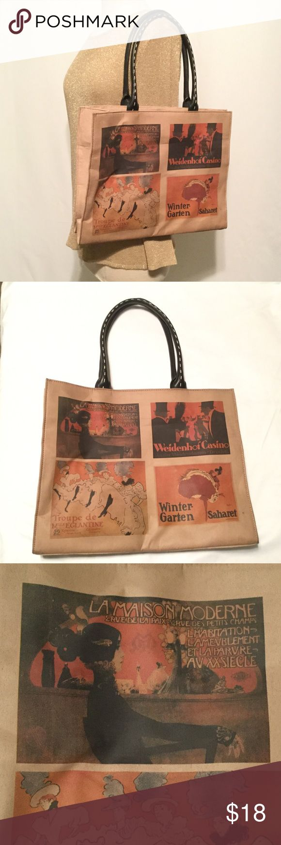"Tote with cabaret scenes Brown tote, leather or leatherlike.  Front has 4 cabaret posters:  La Madison Moderne by Manuel Orazi, Paris  Weidenhof Casino by Ernst Lubbert, Berlin  Winter-Garten Saharet by Maurice Biais, Berlin  Troupe de Mlle. Elegantine by Henri de Toulouse Laurence, Paris  Zip closure, inside zip, stitched black leather handles. About 15"" x 12"".   015 Bags Totes"