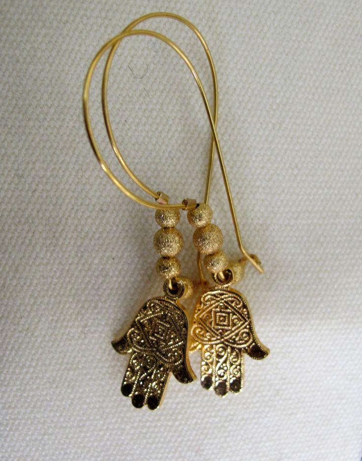 Hamsa Hand Charm Hoop Earrings