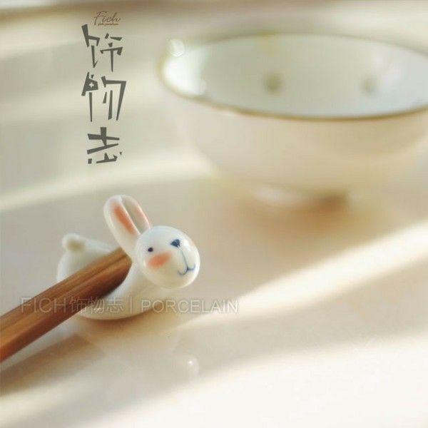 Rice eye bunny chopsticks holder carriage household pottery handmade ceramic tableware