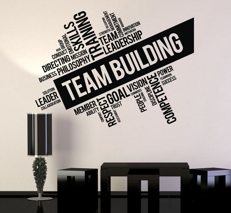 Vinyl Wall Decal Team Building Words Cloud Office Art Decor Stickers (ig4650)