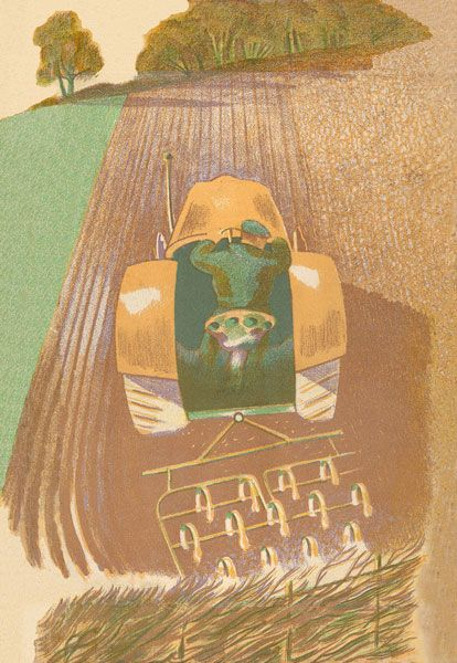 """""""Spring Harrowing"""" lithograph by John Nash from 'Men and the Fields' by Adrian Bell (1939)"""