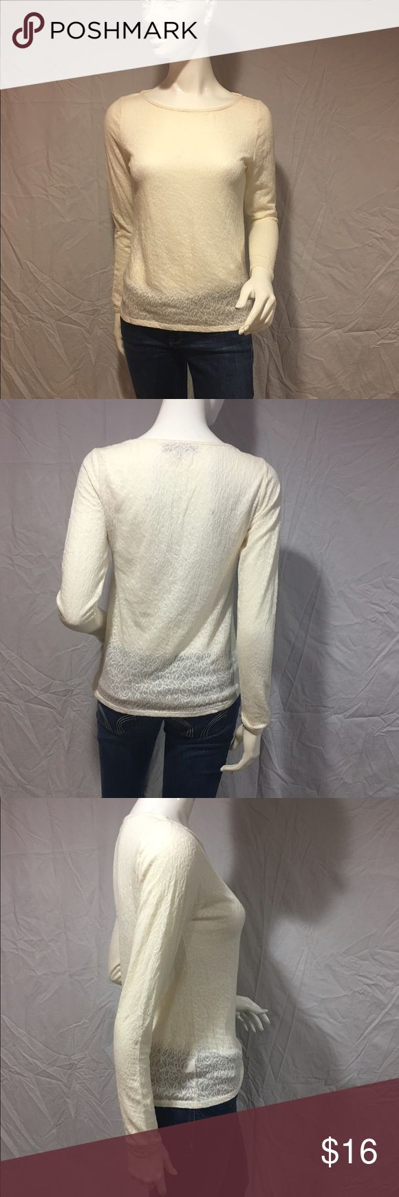 Long sleeve lace top White long sleeve top. Material is a thick lace. See through, so would need a shirt or bandeau underneath. In great condition. Cute for any occasion. Feel free to make me a reasonable offer 💕 LOFT Tops Tees - Long Sleeve