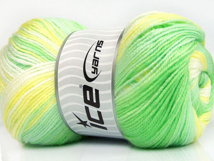 Fiber Content 100% Baby Acrylic Yellow White Brand Ice Yarns Green Shades Yarn Thickness 2 Fine Sport Baby fnt2-50003