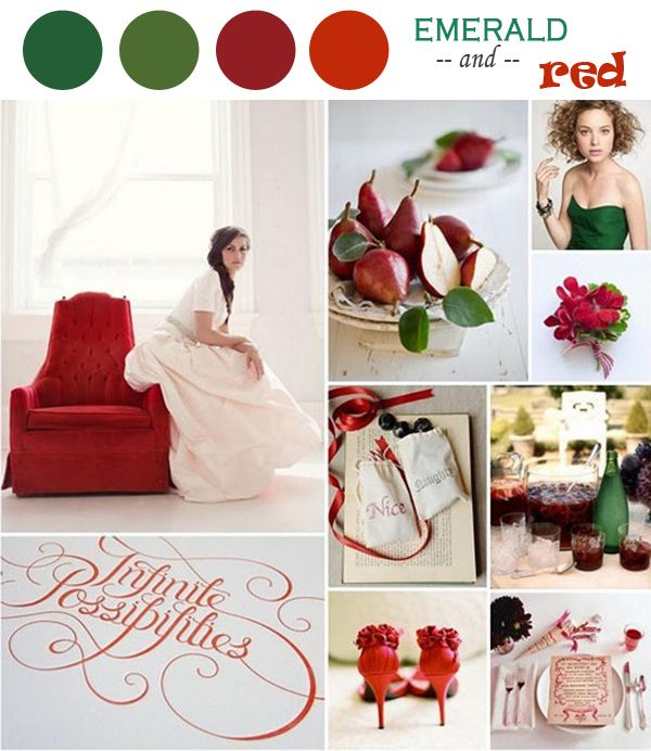 emerald green and red wedding ideas