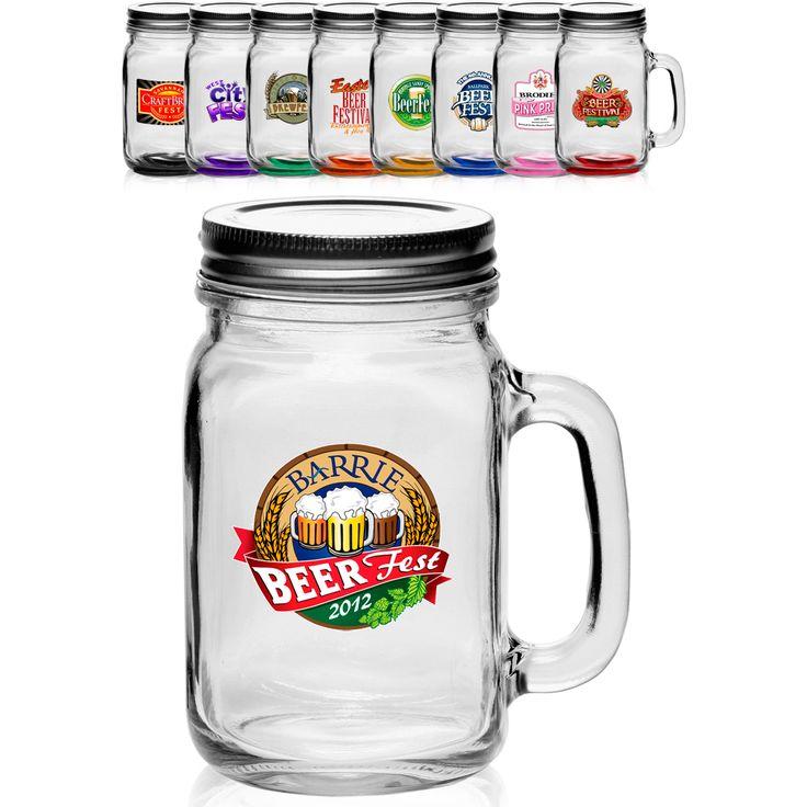 Custom Glass Mason Jars | Wholesale Glass Mason Jars with Handle and Lid Printed with Logo