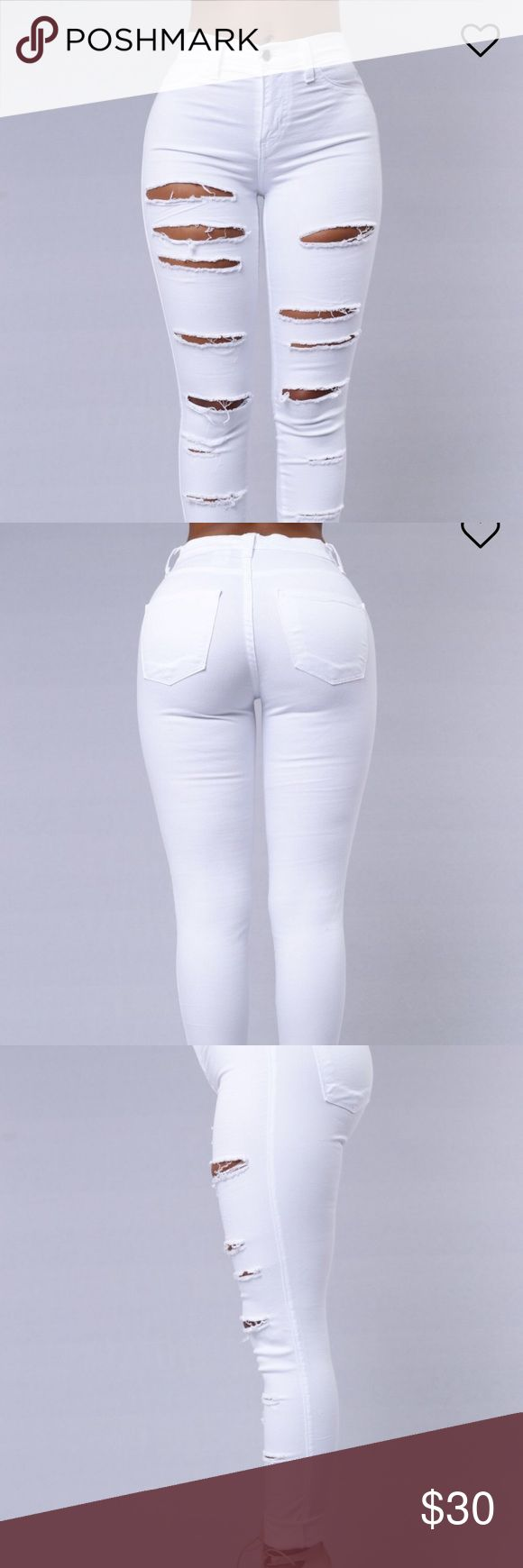 """White High Waisted Fashion Nova Jeans """"Slash and Burn"""" white distressed fashion Nova Jeans. Super cute they just don't fit me. NEVER WORN. Still have tag on them, and these are no longer carried on the site. size:5! Fashion Nova Jeans Skinny"""