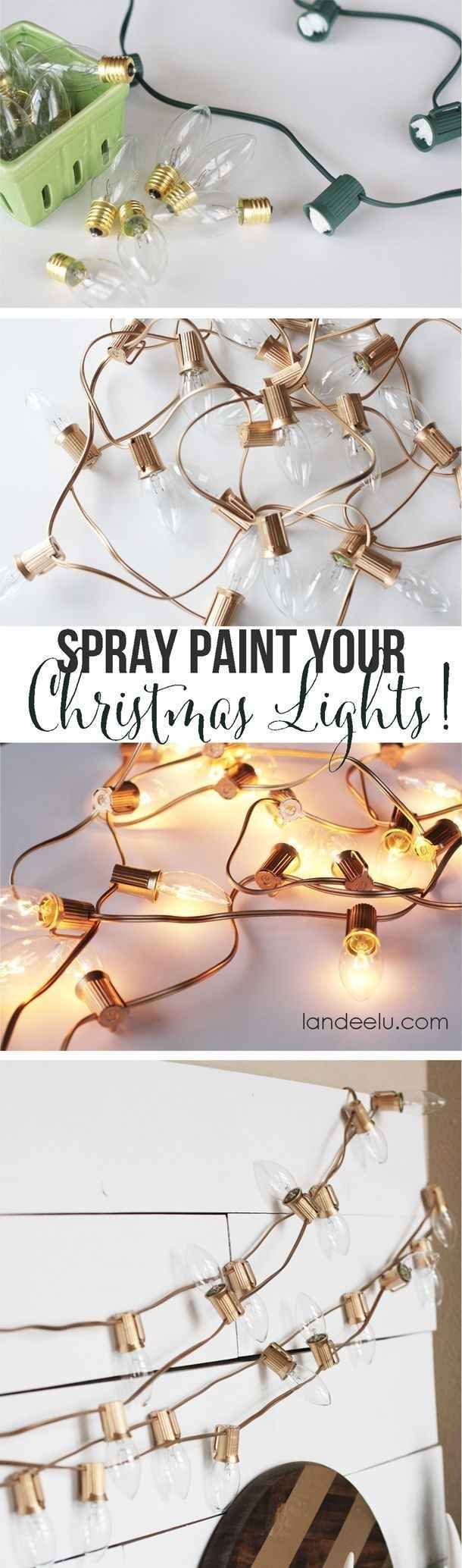 Christmas lights don't have to be relegated to the holidays if you paint them gold. holiday hacks, holiday ideas #lifehack
