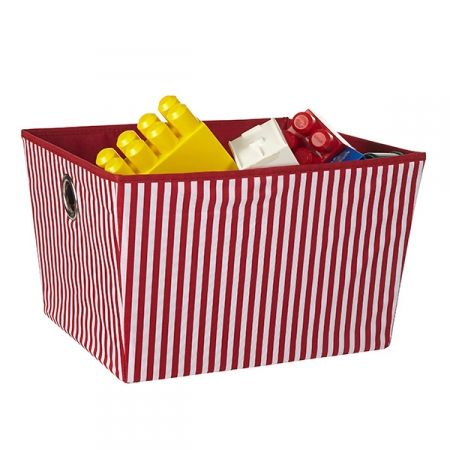 A great, bright toy storage option!  (Howards Storage World, Storage Tote Large - Red Stripe) #toys