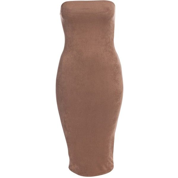 Nly One Faux Suede Tube Bodycon ($50) ❤ liked on Polyvore featuring dresses, outfits, tops, bodycon tube dress, tube dress, body conscious dress, brown dress and brown bodycon dress