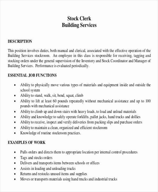 Stock Job Description Resume Lovely Stock Clerk Resume Skills Driverlayer Search Engine In 2020 Job Resume Sales Job Description Clerk Jobs