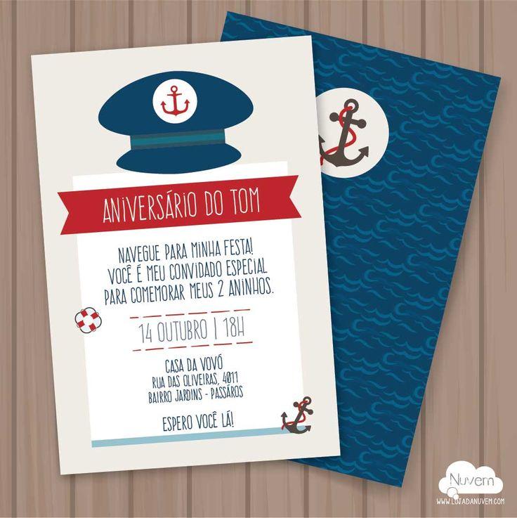 Convite Marinheiro para Imprimir 2 Você imprime quantos quiser. Texto editável no .PDF Lindo e prático! >>Ideal para Chá de bebê, batizado, mesversário e aniversário infantil.