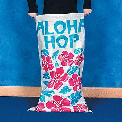 Lot of 6 Hibiscus Potato Sacks Sack Race Luau Beach Tropical Party Game ALOHA