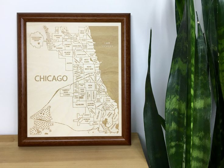 Engraved wood Chicago Neighborhood Map by Etched Atlas.
