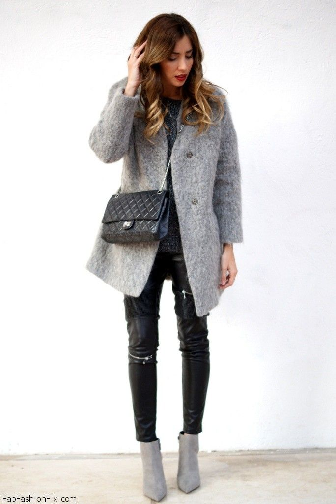 Zara grey coat, Zara leather pants and Chanel bag for winter street style.
