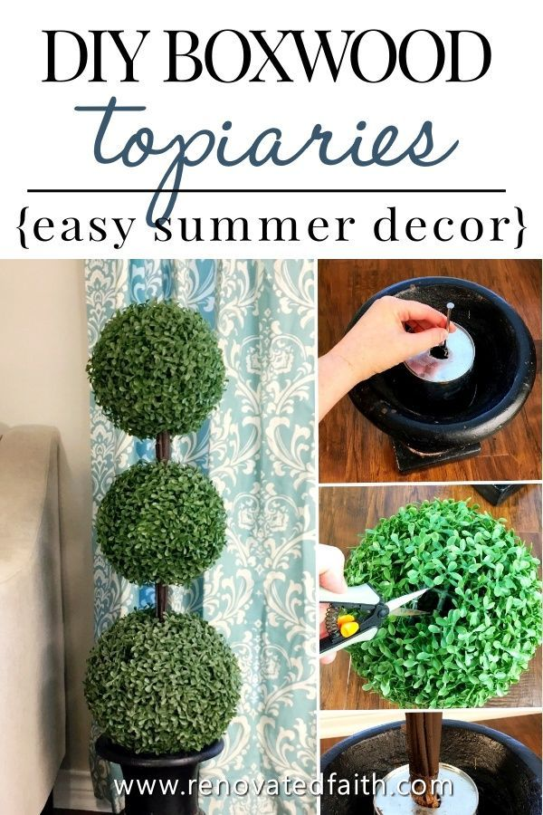 The Easiest Diy Topiary Trees On A Budget Topiary Decorating Ideas Topiary Trees Topiary Summer Home Decor