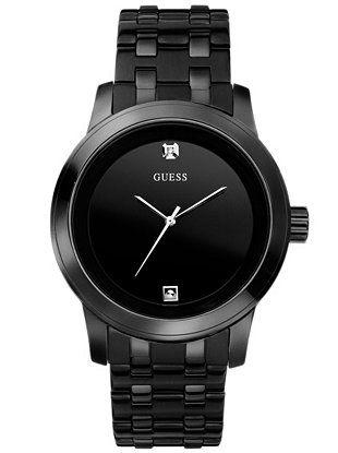 Black Round Diamond Watch at Guess
