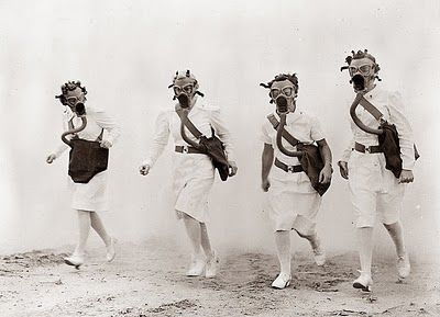 This weird picture was taken in 1942, and shows Army nurses training for Gas Warfare in World War II.