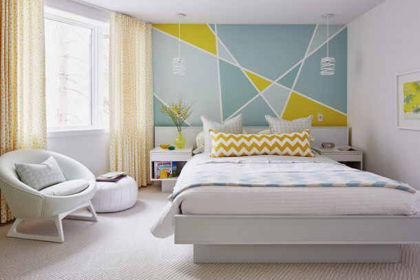 City Modern Fiona S Bedroom Bed With Abstract Wall Painting Bedroom Wall Geometric Wall Paint Wall Paint Designs