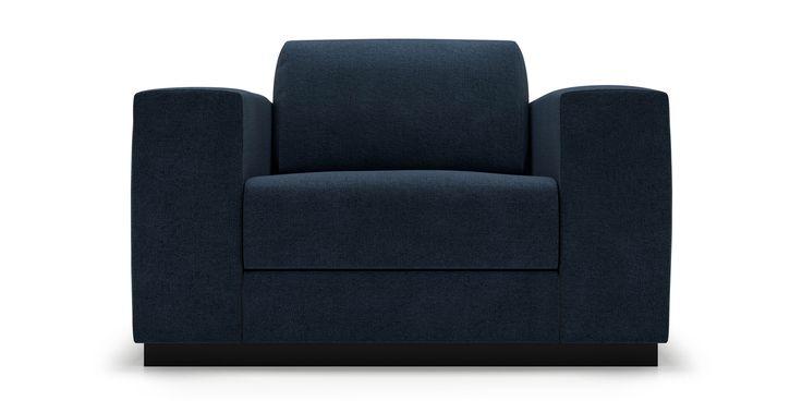 Stellan Arm Chair in Deep Blue Water Fabric by Kavuus.com   (Made in Canada)